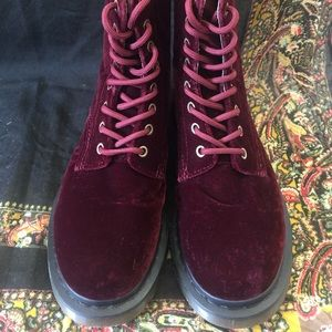Velvet Dr. Martens Red/Burgundy size US women's 7